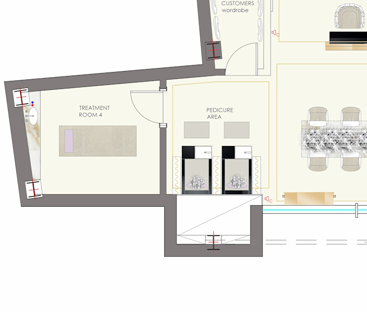 bespoke pedicure stations drawimgs by Elena Lenzi INTERIOR ARCHITECTURE