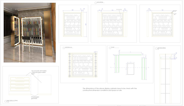 bespoke display cabinets drawings by Elena Lenzi INTERIOR ARCHITECTURE