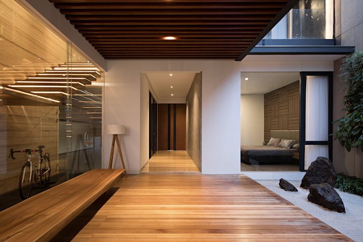 Rakta Studio Asian style corridor, hallway & stairs