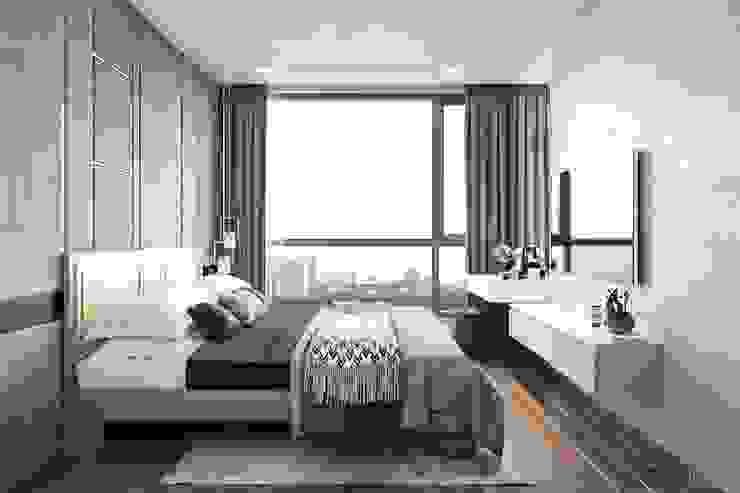 THIẾT KẾ HIỆN ĐẠI TRONG CĂN HỘ VINHOMES CENTRAL PARK Phòng ngủ phong cách hiện đại bởi ICON INTERIOR Hiện đại