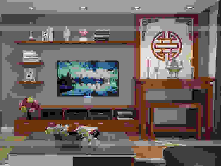 Ảnh 3D thiết kế nội thất phòng khách gỗ xoan đào nhà anh Trọng ở Linh Đàm: Châu Á  by Nội thất Hpro, Châu Á