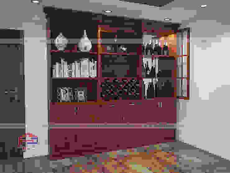 Ảnh 3D thiết kế nội thất phòng khách gỗ xoan đào nhà anh Trọng ở Linh Đàm - view 2: Châu Á  by Nội thất Hpro, Châu Á
