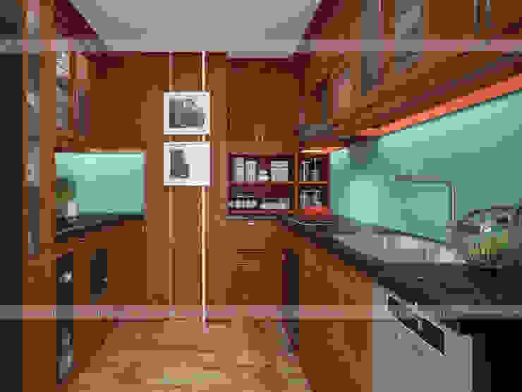 Ảnh thiết kế 3D tủ bếp gỗ xoan đào hình chữ U nhà anh Trọng ở Linh Đàm: Châu Á  by Nội thất Hpro, Châu Á