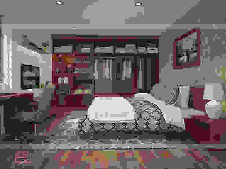 Ảnh 3D thiết kế nội thất phòng ngủ master gỗ xoan đào nhà anh Trọng ở Linh Đàm: Châu Á  by Nội thất Hpro, Châu Á