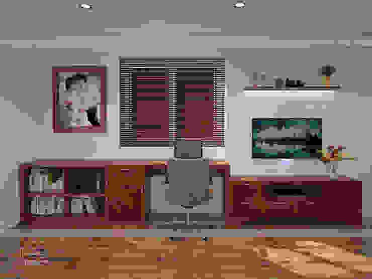 Ảnh 3D thiết kế nội thất phòng ngủ master gỗ xoan đào nhà anh Trọng ở Linh Đàm - view 2: Châu Á  by Nội thất Hpro, Châu Á