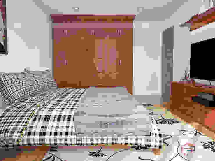 Ảnh 3D thiết kế nội thất phòng ngủ ông bà gỗ xoan đào nhà anh Trọng ở Linh Đàm: Châu Á  by Nội thất Hpro, Châu Á