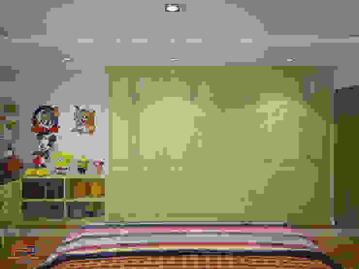 Ảnh 3D thiết kế nội thất phòng ngủ của bé nhà anh Trọng ở Linh Đàm - view 2: Châu Á  by Nội thất Hpro, Châu Á