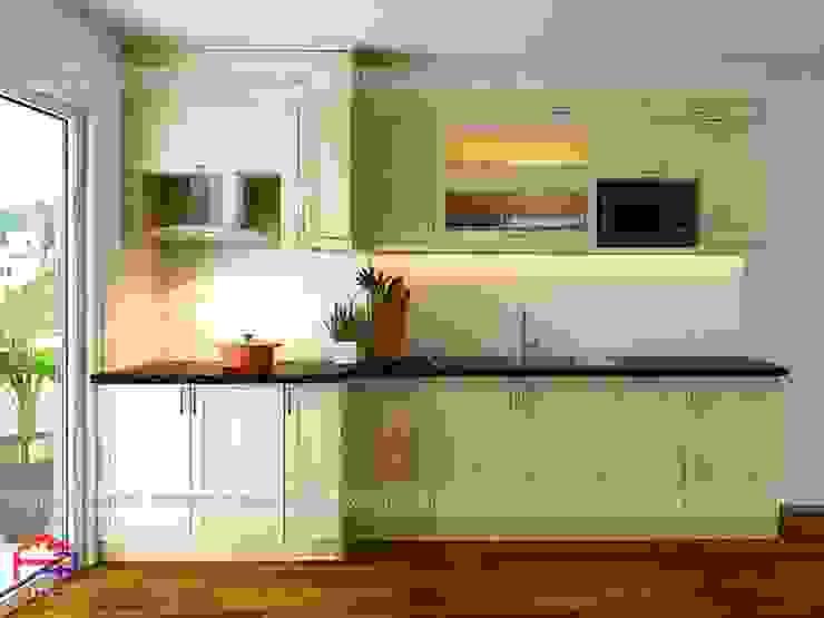 Ảnh thiết kế 3D tủ bếp gỗ sồi nga nhà cô Huyền ở Trung Kính: hiện đại  by Nội thất Hpro, Hiện đại
