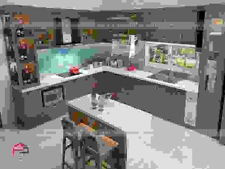 Ảnh thiết kế 3D tủ bếp gỗ sồi mỹ nhà anh Việt ở Thái Nguyên: hiện đại  by Nội thất Hpro, Hiện đại