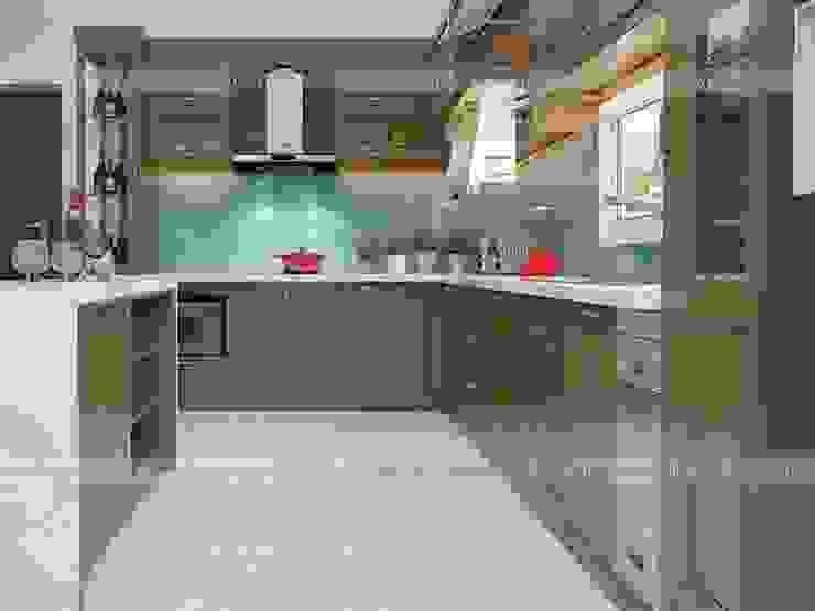 Ảnh thiết kế 3D tủ bếp gỗ sồi mỹ chữ L nhà anh Việt ở Thái Nguyên: hiện đại  by Nội thất Hpro, Hiện đại