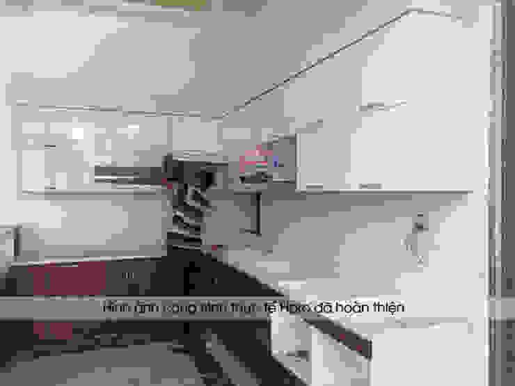 Lắp đặt tủ bếp laminate kèm bàn đảo nhà anh Mạnh ở Bắc Giang: hiện đại  by Nội thất Hpro, Hiện đại
