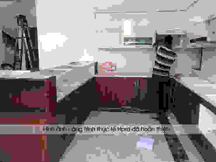Thi công bộ tủ bếp laminate chữ L nhà anh Mạnh ở Bắc Giang: hiện đại  by Nội thất Hpro, Hiện đại