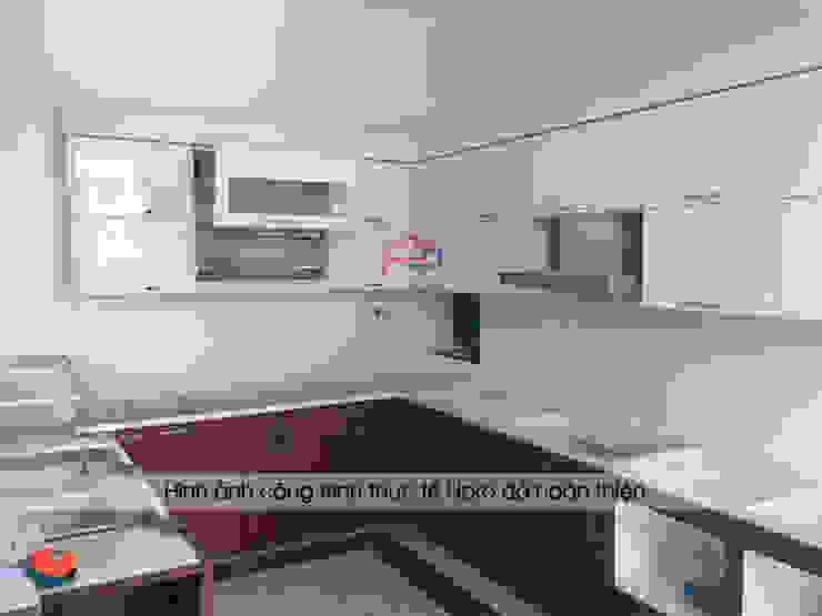 Ảnh thực tế tủ bếp laminate nhà anh Mạnh khi chưa hoàn thiện thi công: hiện đại  by Nội thất Hpro, Hiện đại