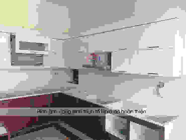 Lắp đặt tủ bếp laminate kèm bàn đảo nhà anh Mạnh tại Bắc Giang: hiện đại  by Nội thất Hpro, Hiện đại