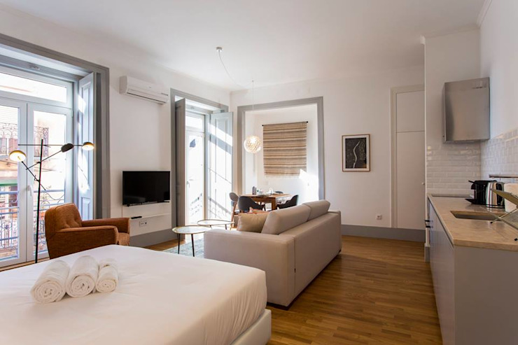 OpenSpace - vista do quarto para a sala por Traço Magenta - Design de Interiores Moderno