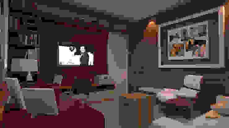 Salas multimedia de estilo  por 5CINQUE ARQUITETURA LTDA