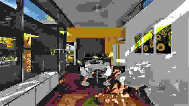 Salón - comedor y cocina al fondo. de ARQUITECTOnico