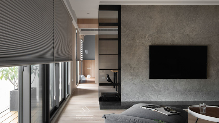 公領域直接串連 極簡室內設計 Simple Design Studio 现代客厅設計點子、靈感 & 圖片
