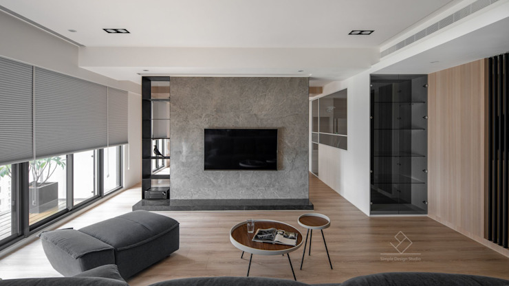 電視主牆 極簡室內設計 Simple Design Studio 现代客厅設計點子、靈感 & 圖片