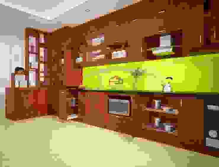 Ảnh thiết kế 3D tủ bếp gỗ xoan đào nhà chị Loan ở Thụy Khuê: hiện đại  by Nội thất Hpro, Hiện đại