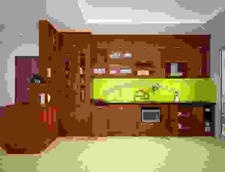 Ảnh thiết kế 3D tủ bếp gỗ xoan đào kèm vách ngăn nhà chị Loan ở Thụy Khuê: hiện đại  by Nội thất Hpro, Hiện đại