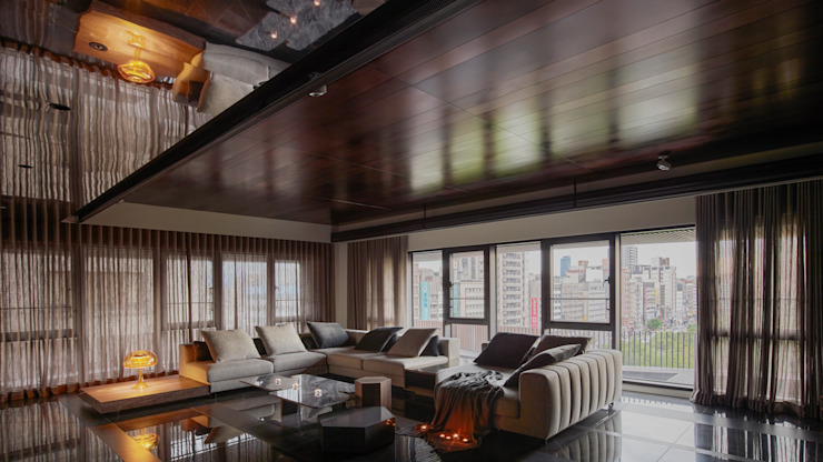 Residence of h 现代客厅設計點子、靈感 & 圖片 根據 沈志忠聯合設計 現代風