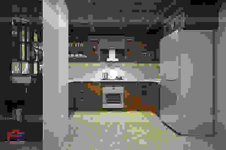Ảnh thiết kế 3D tủ bếp gỗ sồi mỹ cho khách hàng người nước ngoài: hiện đại  by Nội thất Hpro, Hiện đại