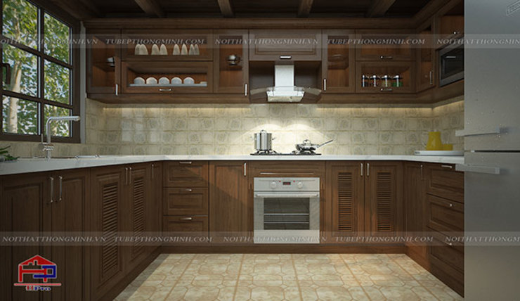 Ảnh 3D thiết kế bộ tủ bếp gỗ sồi mỹ cho khách hàng người nước ngoài: hiện đại  by Nội thất Hpro, Hiện đại