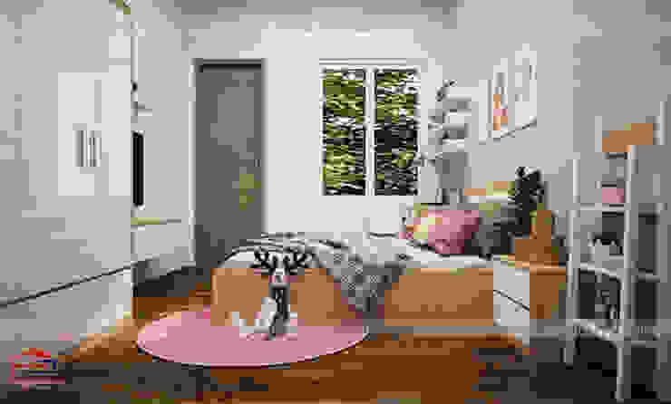 Thiết kế nội thất phòng ngủ cho bé gái nhà chị Hương ở Việt Trì - view 2: hiện đại  by Nội thất Hpro, Hiện đại