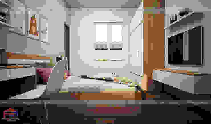 Thiết kế nội thất phòng ngủ cho bé gái nhà chị Hương ở Việt Trì - view 3: hiện đại  by Nội thất Hpro, Hiện đại