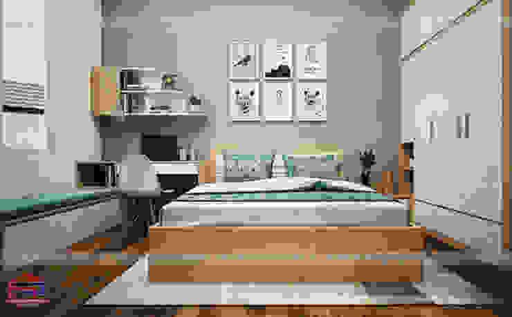 Ảnh 3D thiết kế nội thất phòng ngủ bé trai gỗ laminate nhà chị Hương ở Việt Trì : hiện đại  by Nội thất Hpro, Hiện đại
