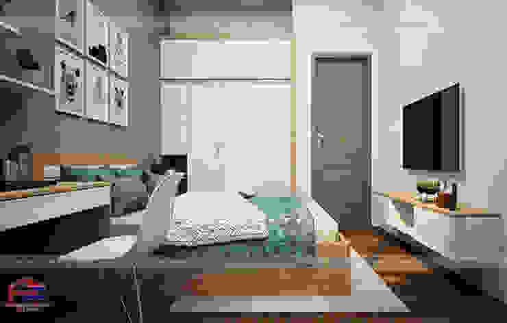 Ảnh 3D thiết kế nội thất phòng ngủ bé trai gỗ laminate nhà chị Hương ở Việt Trì  - view 2: hiện đại  by Nội thất Hpro, Hiện đại