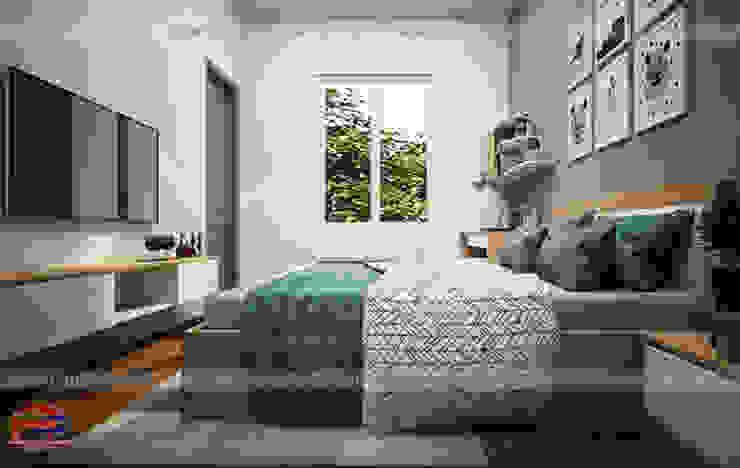 Ảnh 3D thiết kế nội thất phòng ngủ bé trai gỗ laminate nhà chị Hương ở Việt Trì  - view 3: hiện đại  by Nội thất Hpro, Hiện đại