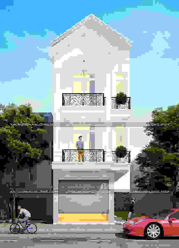 Kiến trúc mặt tiền nhà ống 3 tầng tân cổ điển bởi Thiết kế nhà đẹp ở Hồ Chí Minh Hiện đại