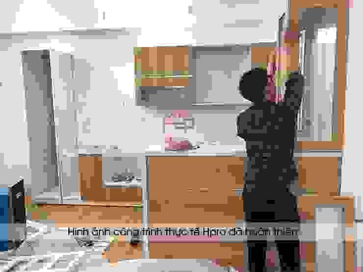 Lắp đặt tủ bếp laminate kèm quầy bar nhà anh Lộc ở Cầu Giấy: hiện đại  by Nội thất Hpro, Hiện đại