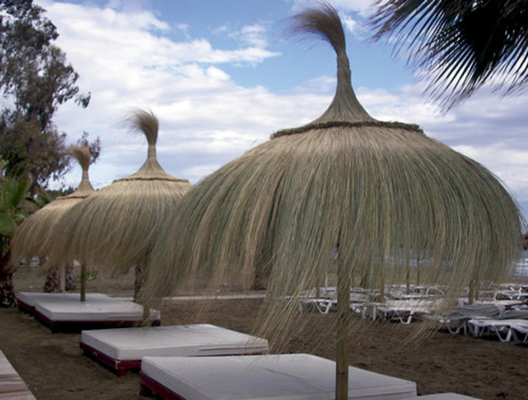 SOMBRILLAS DE CARRIZO:  de estilo tropical de ESTRUCTURAS DE MADERAS RIGÓN en Málaga, Tropical Madera Acabado en madera
