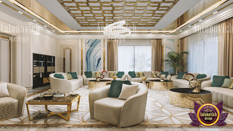 A Touch of Emerald in a Living Room by Luxury Antonovich Design