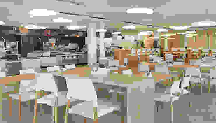 Innenraum archipur Architekten aus Wien Moderne Gastronomie Weiß