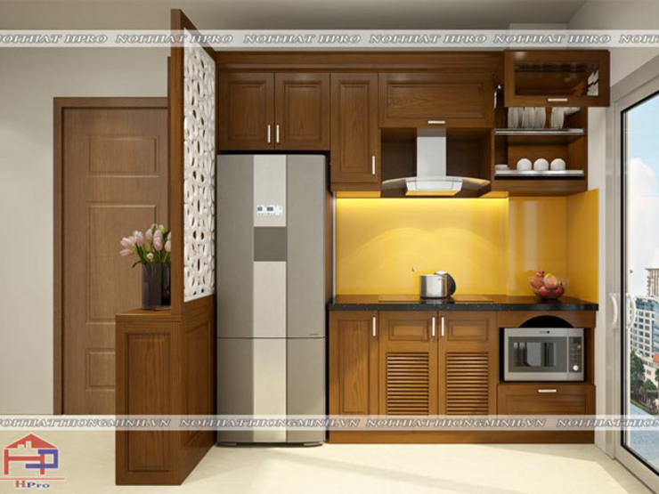 Ảnh thiết kế 3D tủ bếp gỗ sồi mỹ nhà bác Khôi ở Hoàng Cầu bởi Nội thất Hpro