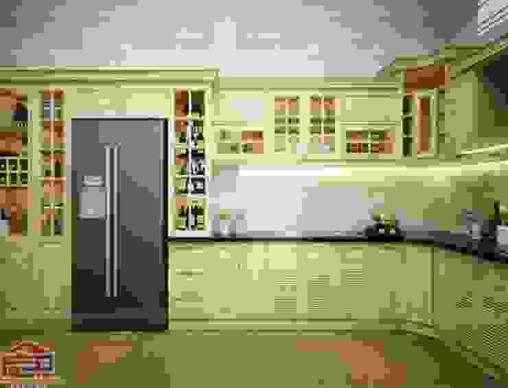 Ảnh thiết kế 3D tủ bếp gỗ sồi nga nhà anh Khê ở Thái Bình: hiện đại  by Nội thất Hpro, Hiện đại
