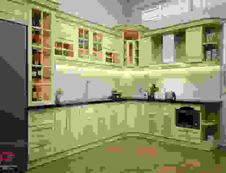 Ảnh thiết kế tủ bếp gỗ sồi nga tân cổ điển nhà anh Khê ở Thái Bình: hiện đại  by Nội thất Hpro, Hiện đại