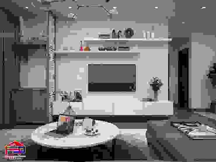 Ảnh 3D thiết kế nội thất phòng khách nhà chú Quang ở tòa Ruby1 Goldmark City: hiện đại  by Nội thất Hpro, Hiện đại