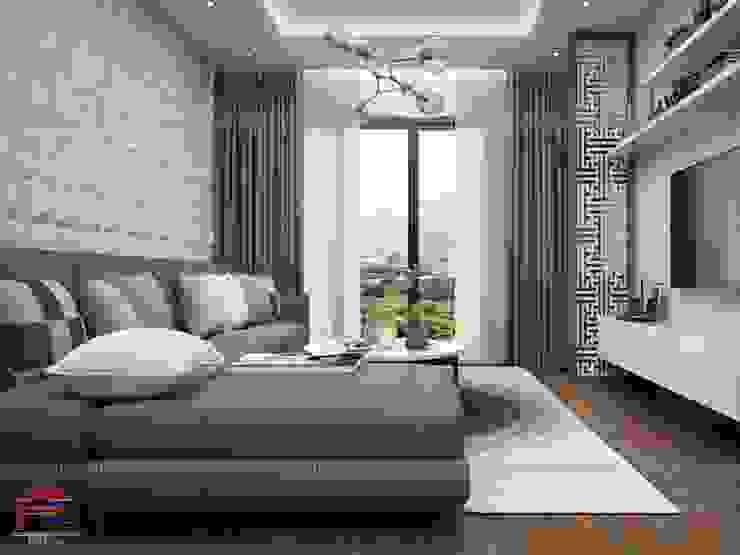 Ảnh 3D thiết kế nội thất phòng khách gỗ melamine nhà chú Quang ở tòa Ruby1 Goldmark City: hiện đại  by Nội thất Hpro, Hiện đại