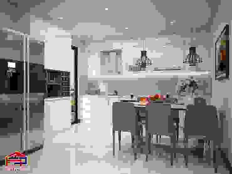 Ảnh 3D thiết kế phòng bếp cho nhà chú Quang ở tòa Ruby1 Goldmark City: hiện đại  by Nội thất Hpro, Hiện đại