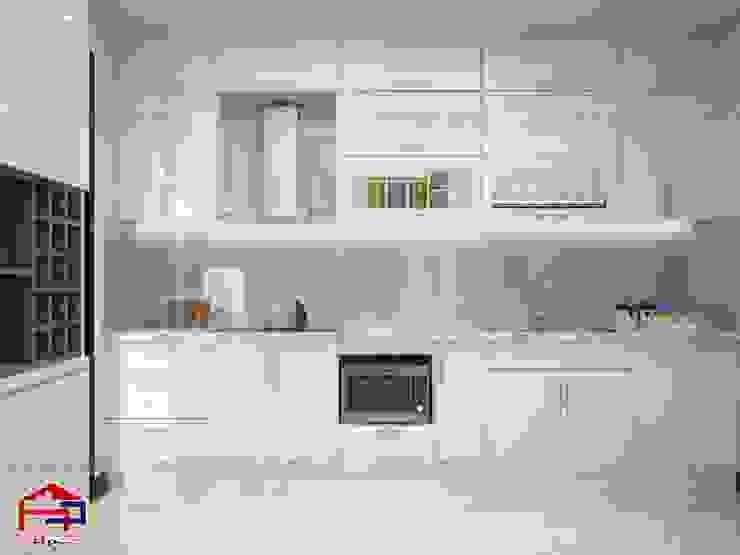 Ảnh 3D thiết kế tủ bếp acrylic nhà chú Quang ở tòa Ruby1 Goldmark City: hiện đại  by Nội thất Hpro, Hiện đại