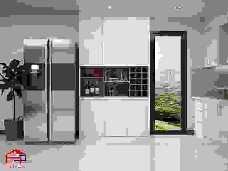 Ảnh thiết kế tủ trang trí phòng bếp acrylic nhà chú Quang ở tòa Ruby1 Goldmark City: hiện đại  by Nội thất Hpro, Hiện đại
