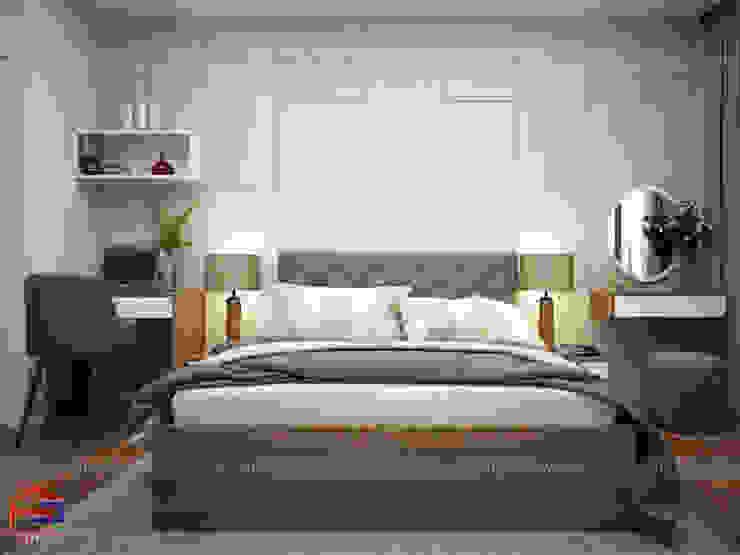 Ảnh 3D thiết kế nội thất phòng ngủ master nhà chú Quang ở tòa Ruby1 Goldmark City: hiện đại  by Nội thất Hpro, Hiện đại