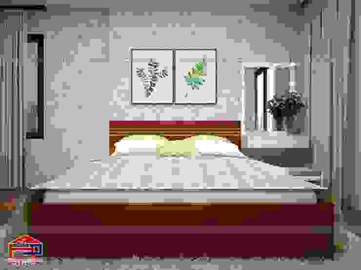 Ảnh 3D thiết kế nội thất phòng ngủ bé gái nhà chú Quang ở tòa Ruby1 Goldmark City: hiện đại  by Nội thất Hpro, Hiện đại