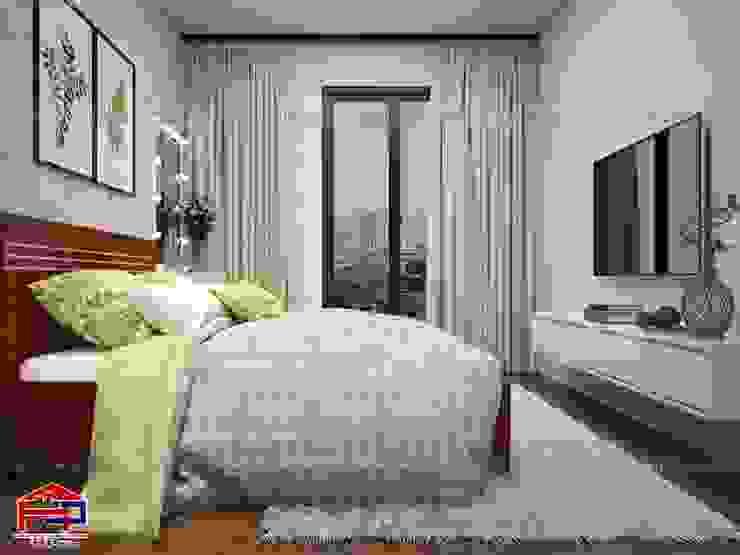 Ảnh 3D thiết kế nội thất phòng ngủ bé gái nhà chú Quang ở tòa Ruby1 Goldmark City - view 2: hiện đại  by Nội thất Hpro, Hiện đại