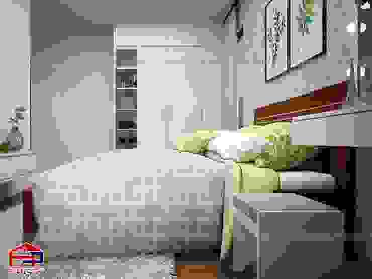 Ảnh 3D thiết kế nội thất phòng ngủ bé gái nhà chú Quang ở tòa Ruby1 Goldmark City - view 3: hiện đại  by Nội thất Hpro, Hiện đại